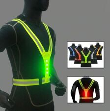 LED Cycling Vest Elastic High Visibility Reflective Outdoor Running Safety Vest