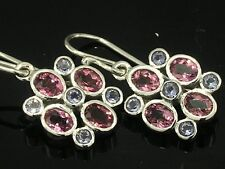 E070 Genuine 9ct Solid WHITE Gold Pink Tourmaline & Iolite Drop Dangle Earrings