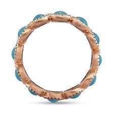Genuine Turquoise Antique Eternity Band Vintage Milgrain Ring in 14k Rose Gold