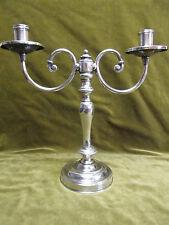 candélabre 2 branches art deco métal argenté Fleuron (silverplate candlestick)