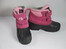 TOTES Youth Girls Snow Boots Size 4 Med Waterproof Kendra Pink Leather & Black