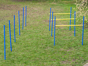 Hunde Agility Set Training Hundesport Hürden Slalom Stangen Blau Gelb
