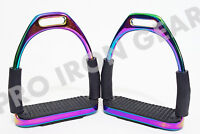 HORSE FLEXIBLE  SAFETY STIRRUPS  RIDING BENDY IRON STEEL (4.75 INCH)