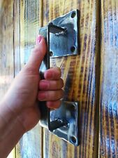 Pull WROUGHT IRON Door Handle Rustic Vintage Barn Gate Pull Handmade Square 2pcs