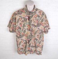 Newport Blue Mens Hawaiian Shirt Size Large Hula Girls Tan Green Floral Island