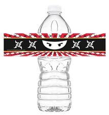 Ninja Bottle Wraps - Set of 20 - Ninja Water Bottle Labels - Ninja Decorations