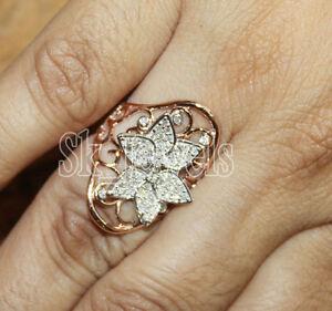 1.25ct Natural Round Diamond 14K Solid Rose Gold Anniversary Wedding Ring
