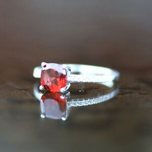 Natural Garnet Ring Solid Sterling Silver 925 , January birthstone Promise Ring