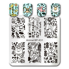 Animal Leaf Nail Art Stamping Plate Square Nail Image Stamp Plate Stencil BP-X31