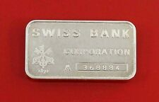 "1oz Ingot  .999 Fine Silver Bar  "" Swiss Bank  Corporation ""  -  A368884"
