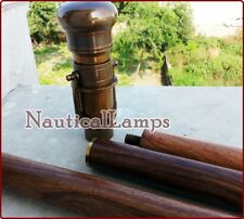 Wooden Walking Stick Brass Telescope Cane Nautical Vintage Style Spy Handle
