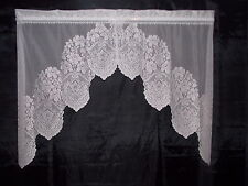 HERITAGE LACE WHITE CROWN AND FLOWERS SWAG CURTAINS 26.5WX36L ITEM 4116