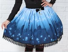 Cosplay Lolita Fantasy Gothic Princess Skirt Moon Castle Print with lace (blue)