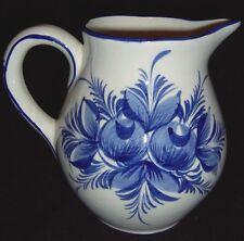 "Handpainted Pitcher Portugal Neuwirth Ceramic Blue Floral / Flowers EUC 6 1/2"""