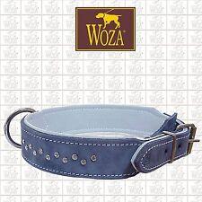 WOZA Premium Dog Collar Swarovski Full Leather Padded Genuine Cow Napa Hand HM34
