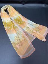 Vintage Verasheer scarves by Vera Silk Vinal Blend Long Peach Yellow Floral Tree