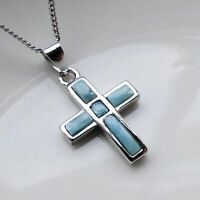 Hot Sale Solid Sterling S925 Natural Larimar Cross Women Necklace Pendant