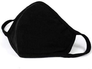 Face Mask Black Protective Breathable 100% Cotton Washable Reusable Cover UK Lot