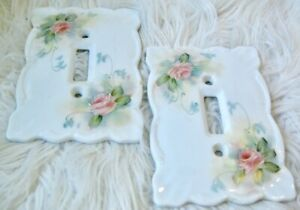 VTG Hand Painted Ceramic Switch Plates Set of 2 Pink Floral on White Cottagecore