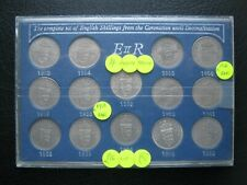 1953~1966 QE II English Shilling 14 Coin Set ~ From Coronation to Decimalisation