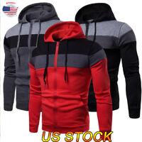 Men's Solid Zip Up Jacket Coat Tops Hoodie Classic Hooded Zipper Sweatshirt USA