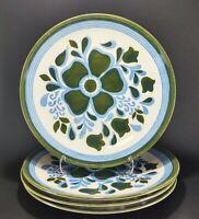 "4 Vintage Royal China Lancaster RYL16 Blue and Green Floral 10"" Dinner Plates"
