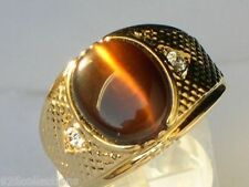 12X10 mm Tiger Eye Brown Semi-Precious Oval Cut Gold Plated Men Ring Size 11