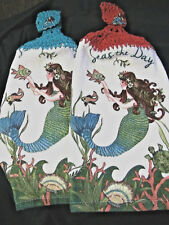 MERMAID~2 crochet top kitchen bath hand cottage cabin towels MERMAID buttons