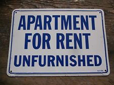 """* Vintage Blue / White """" Apartment For Rent Unfurnished """" Metal Sign 10"""" x 7"""" *"""