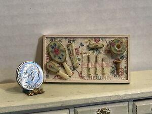 Vintage Artisan TINY TOUCH Vanity Set on Wood Tray Dollhouse Miniature 1:12