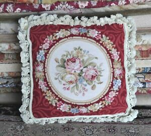 Needlepoint Pillow   Wool Floral Rose Bouquet Red Cushion Cover Pillowcase 16x16