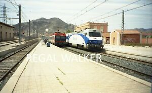 ORIGINAL 35MM RENFE SPAIN RAILWAY NEGATIVE RENFE SCENE AT ELDA-PETRER C1990S