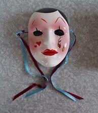 Vintage Pierrot Clown Mardi Gras Theater Face Ceramic Mask Wall Plaque Decor
