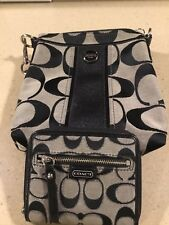 Coach  Crossbody Signatue Black/ White  Small And Wallet Included