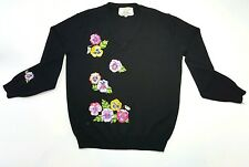 Shirlee Designs Women's Vintage Acrylic Black Floral Sweater Size Large