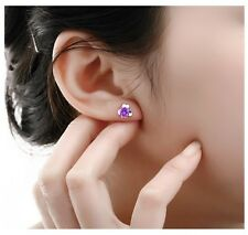 Sterling silver Cubic Zirconia Amethyst  four leaf clover Stud Earrings gift H15