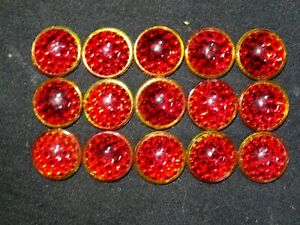 (15) RED Glass Sign REFLECTOR JEWELS BEADS Smooth Bubble Top LIKE CATS EYE