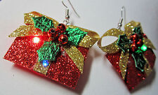 Unique BIG Ugly Sweater 925 Earrings Tacky Gift Box Blinking LED Christmas