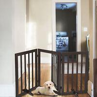 "31.5""H Folding Solid Pet Dog Gate Fence Playpen 3 Panel Nonslip Free Standing"