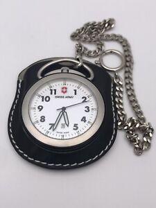 RARE Victorinox Swiss Army 24629 Chain Pocket Watch Stainless Steel Swiss Made