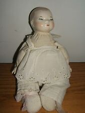 """Vintage 11"""" Clothed Baby Doll Cloth Stuffed Body; Porcelain Head' Hands & Feet"""