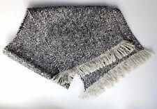 Vintage black and white tweed scarf fringed wool traditional herringbone pattern