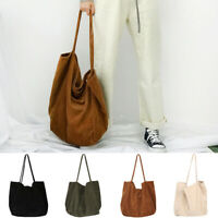 Women Solid Large Capacity Corduroy Shopping Shoulder Bag Casual Tote Pouch