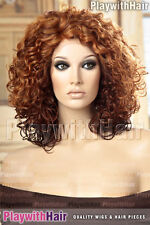 Lace Front Wig FULL Volume Curly Curls Heat Safe Friendly OK Red Auburn Brown ST