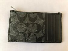 New Coach Men's Signature PVC Zip Card Case Wallet  Charcoal Black F32256 $95
