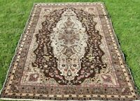 Hand Knotted Natural Wool Vintage Rug Turkish Anatolian Oriental Carpet 5x7 ft.