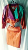 Giovinezza Moda Rocco D'Amelio Avant Garde Vintage 1980's  Leather Jacket Skirt