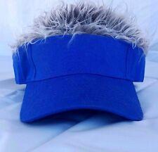 "Brand new! Flair! Blue visor with wild grey hair! New ""flair"" style visor."