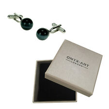Mens Black Ball Cats Eye Fashion Cufflinks & Gift Box By Onyx Art