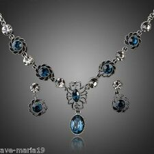 Ancient Silver Plated Blue Swarovski Austrian Crystal Earrings and Necklace Sets